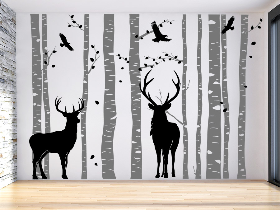 wandtattoo wald mit hirschen zweifarbig von. Black Bedroom Furniture Sets. Home Design Ideas