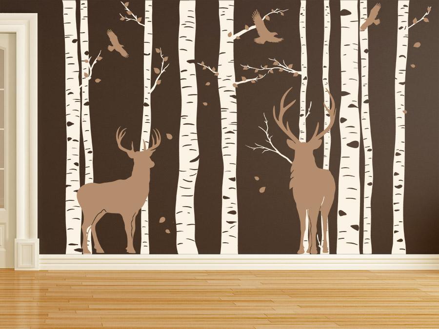 wandtattoo wald mit hirschen birkenwald wandtattoo de. Black Bedroom Furniture Sets. Home Design Ideas