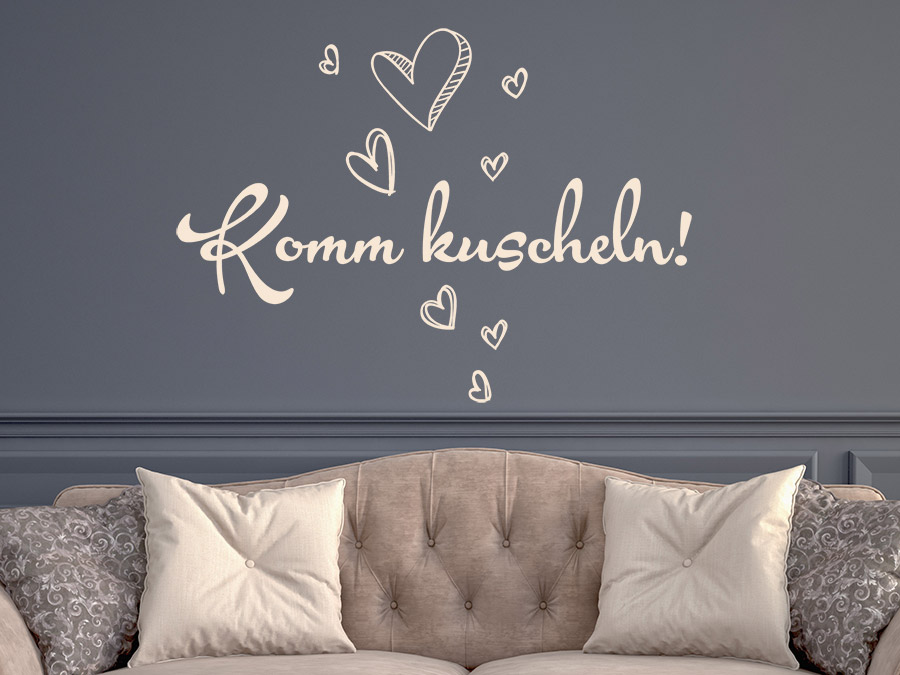 wandtattoo komm kuscheln mit herzen von. Black Bedroom Furniture Sets. Home Design Ideas