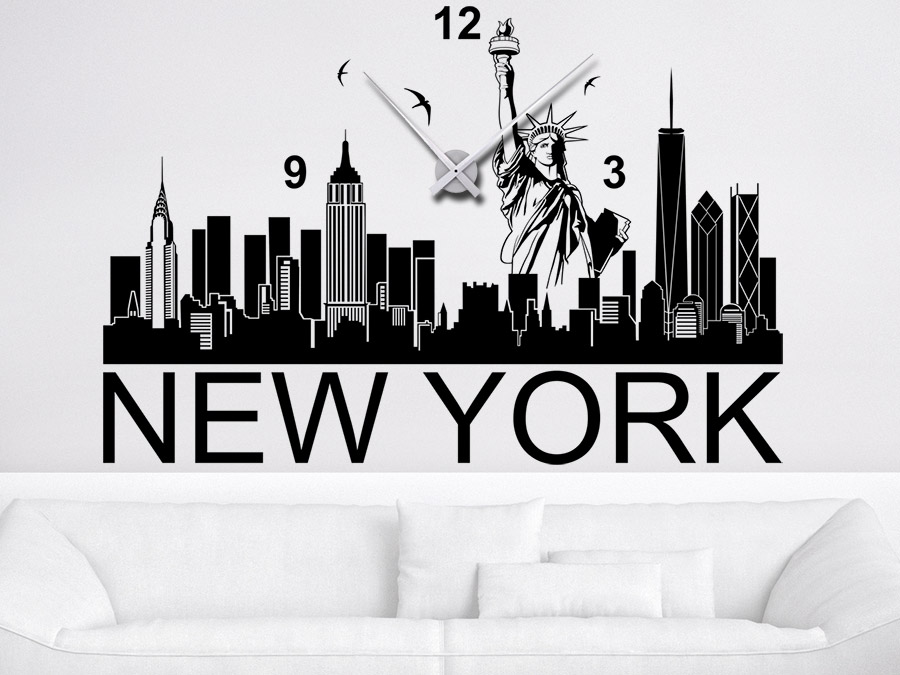 Wandtattoo Uhr New York Skyline