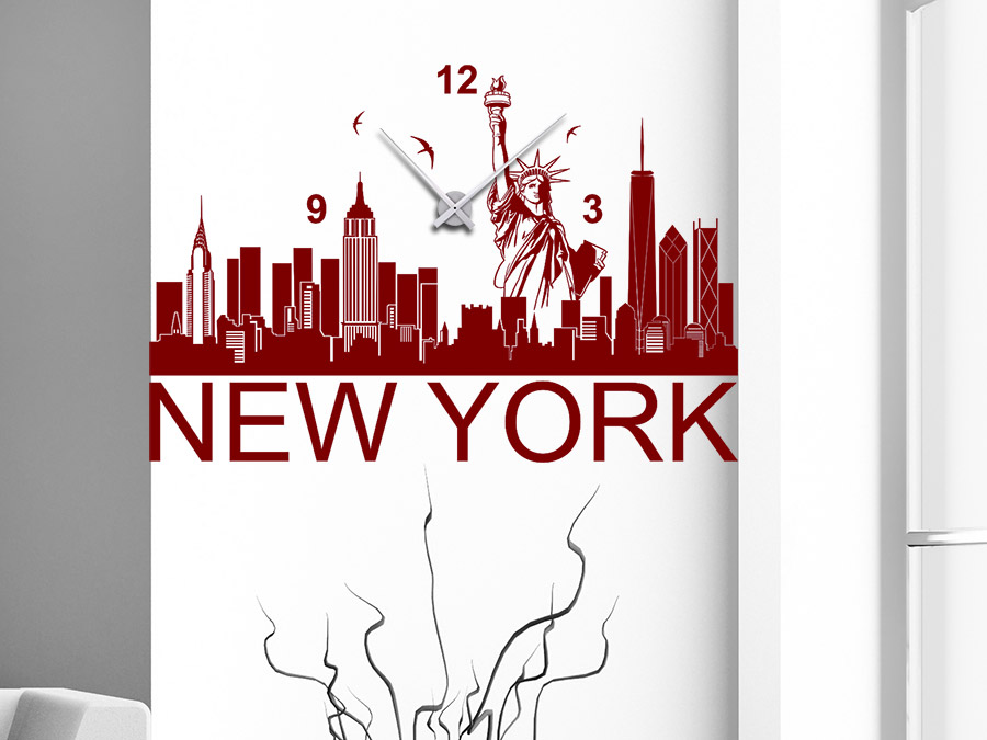 wandtattoo uhr new york skyline wandtattoo de. Black Bedroom Furniture Sets. Home Design Ideas