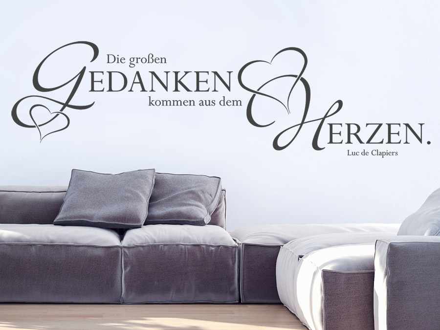 wandtattoo gro e gedanken kommen aus dem herzen. Black Bedroom Furniture Sets. Home Design Ideas