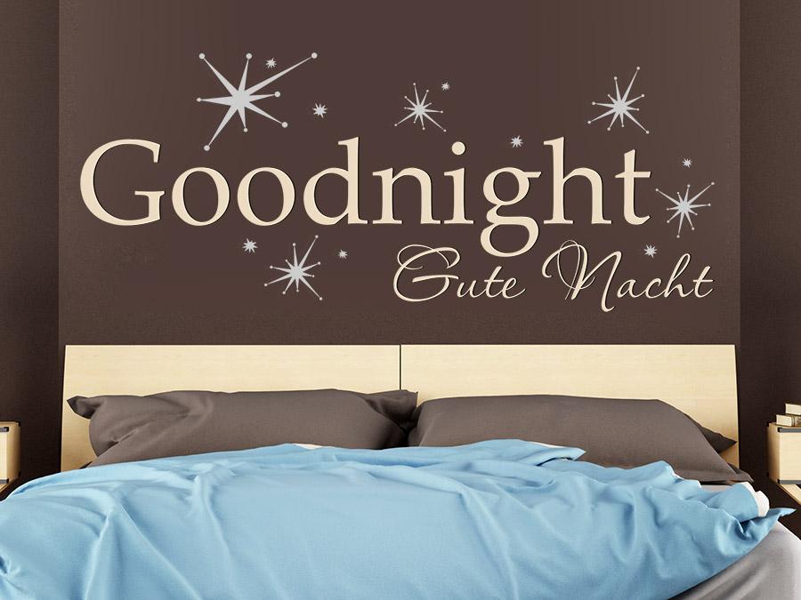 Wandtattoo Goodnight mit Sternen zweifarbig | WANDTATTOO.DE
