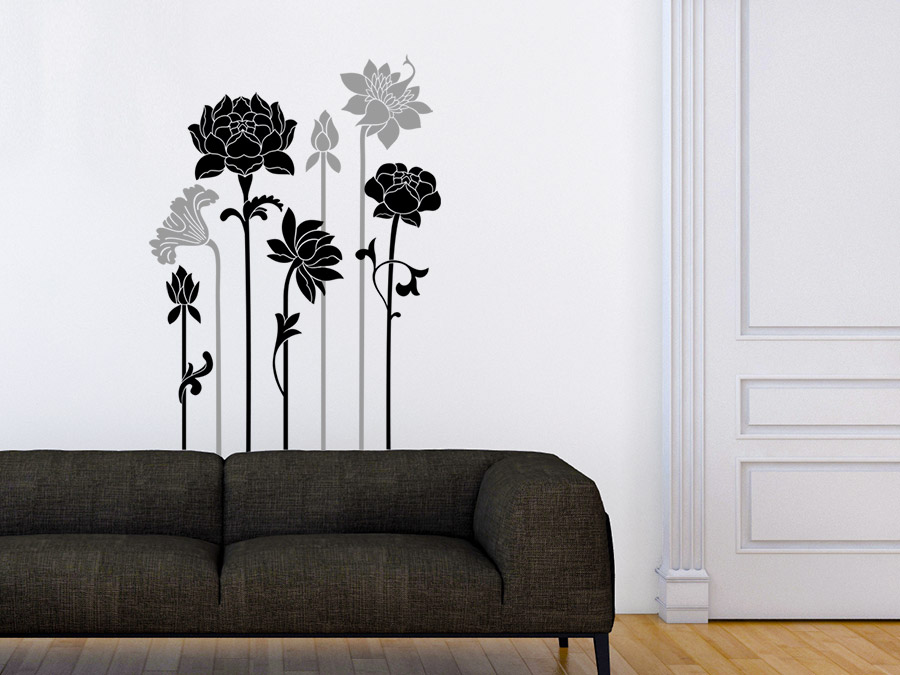 wandtattoo zweifarbige blumen von. Black Bedroom Furniture Sets. Home Design Ideas
