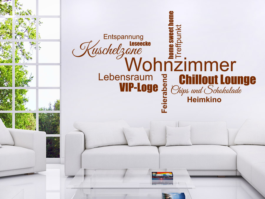 wandtattoo wohnzimmer wortwolke von. Black Bedroom Furniture Sets. Home Design Ideas