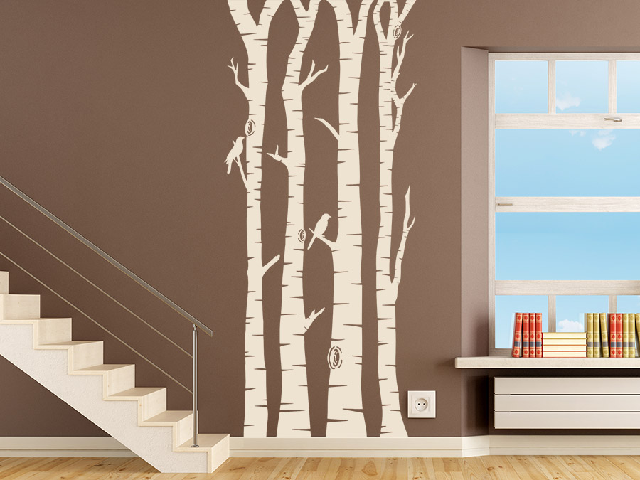 wandtattoo birkenwald mit v geln bei. Black Bedroom Furniture Sets. Home Design Ideas
