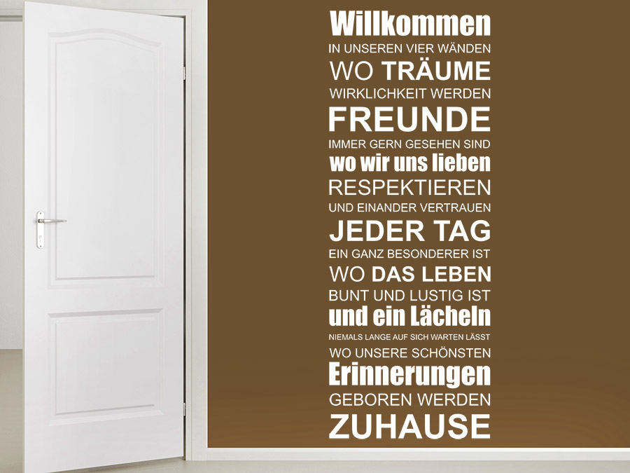 wandtattoo willkommen zuhause spruchbanner wandtattoo de. Black Bedroom Furniture Sets. Home Design Ideas