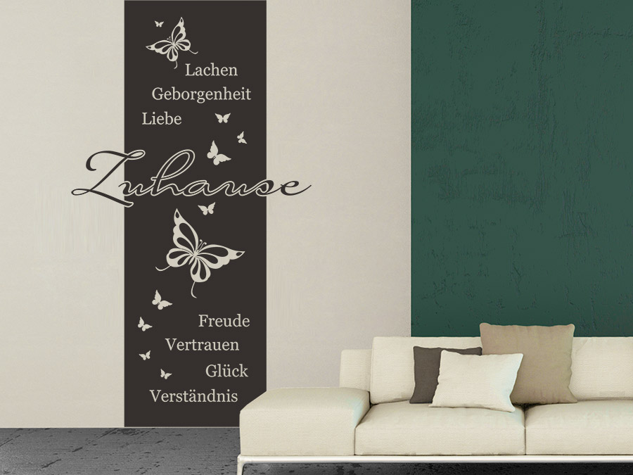 wandtattoo banner zuhause mit schmetterlingen wandtattoo de. Black Bedroom Furniture Sets. Home Design Ideas