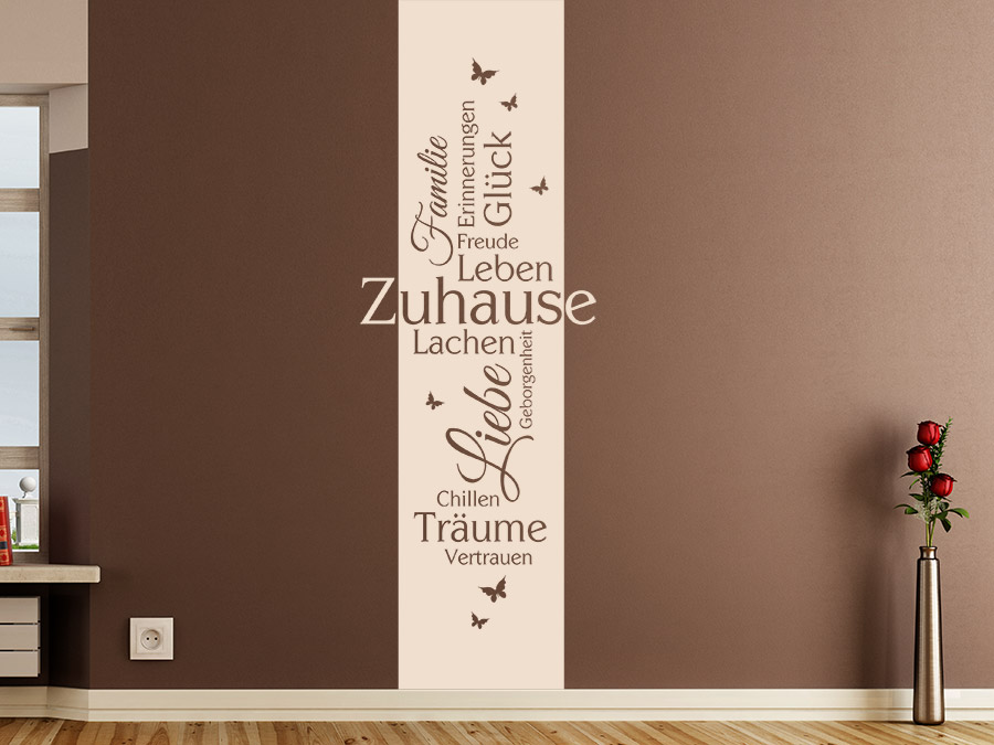 wandtattoo zuhause banner mit schmetterlingen wandtattoo de. Black Bedroom Furniture Sets. Home Design Ideas