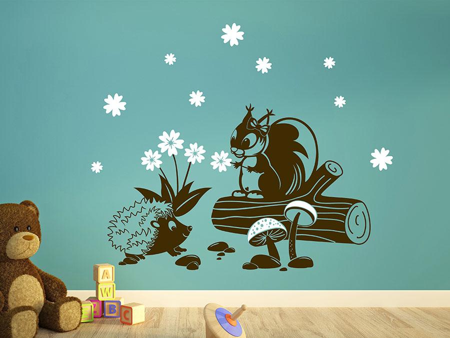 Wandtattoo Eichhörnchen und Igel für Kinder | WANDTATTOO.DE