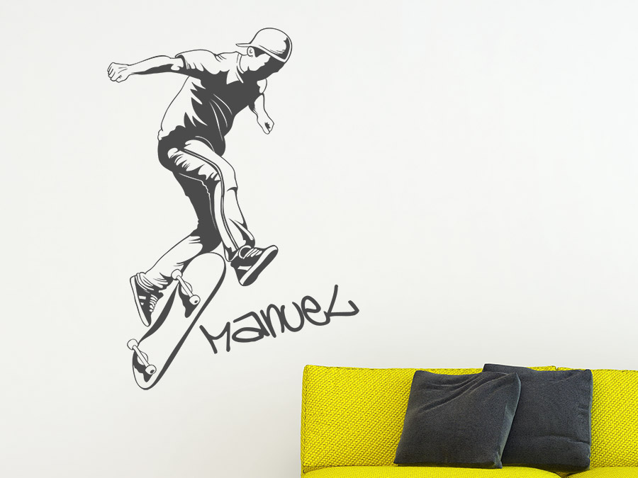 wandtattoo stylischer skater mit name wandtattoo de. Black Bedroom Furniture Sets. Home Design Ideas