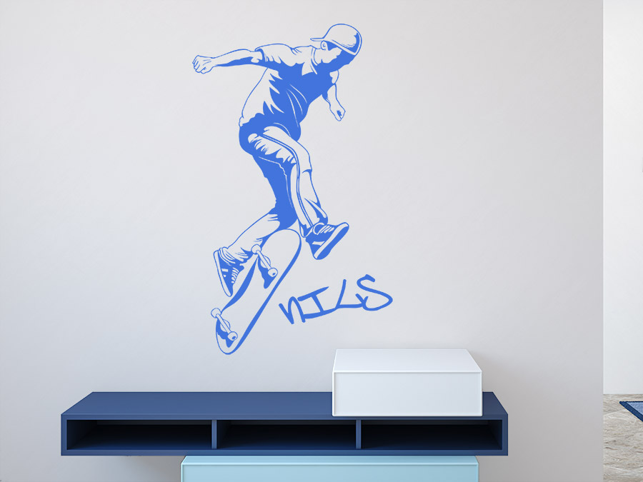wandtattoo stylischer skater mit name von. Black Bedroom Furniture Sets. Home Design Ideas