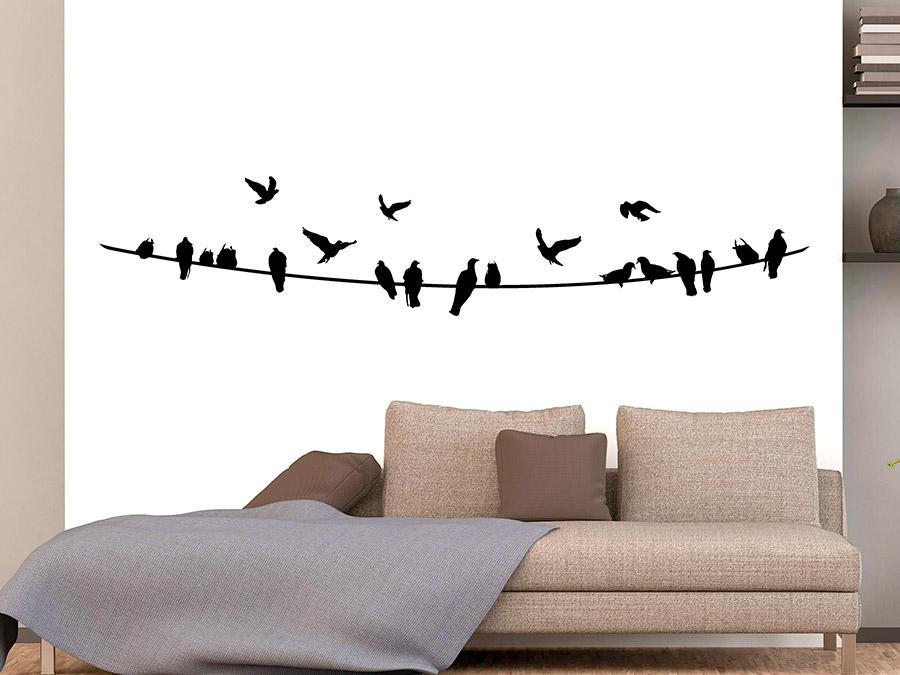 wandtattoo stromleitung mit v geln wandtattoo de. Black Bedroom Furniture Sets. Home Design Ideas