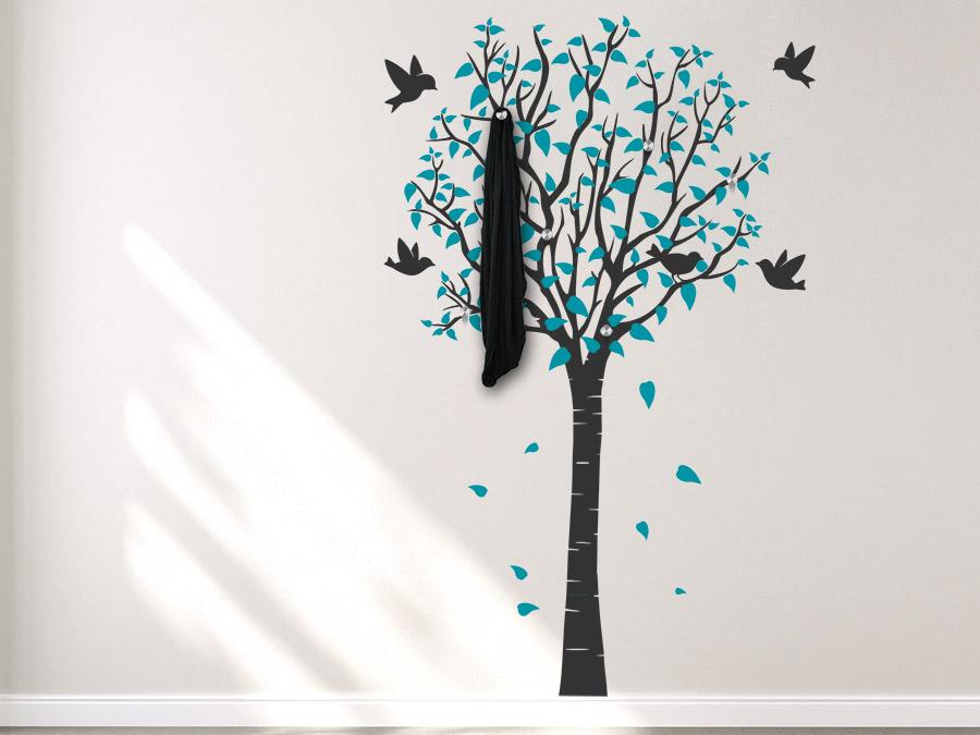 wandtattoo garderobe sommerbaum mit bl tter wandtattoo de. Black Bedroom Furniture Sets. Home Design Ideas