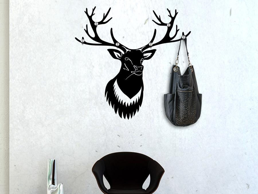 wandtattoo garderobe hirschgeweih mit wandhaken. Black Bedroom Furniture Sets. Home Design Ideas