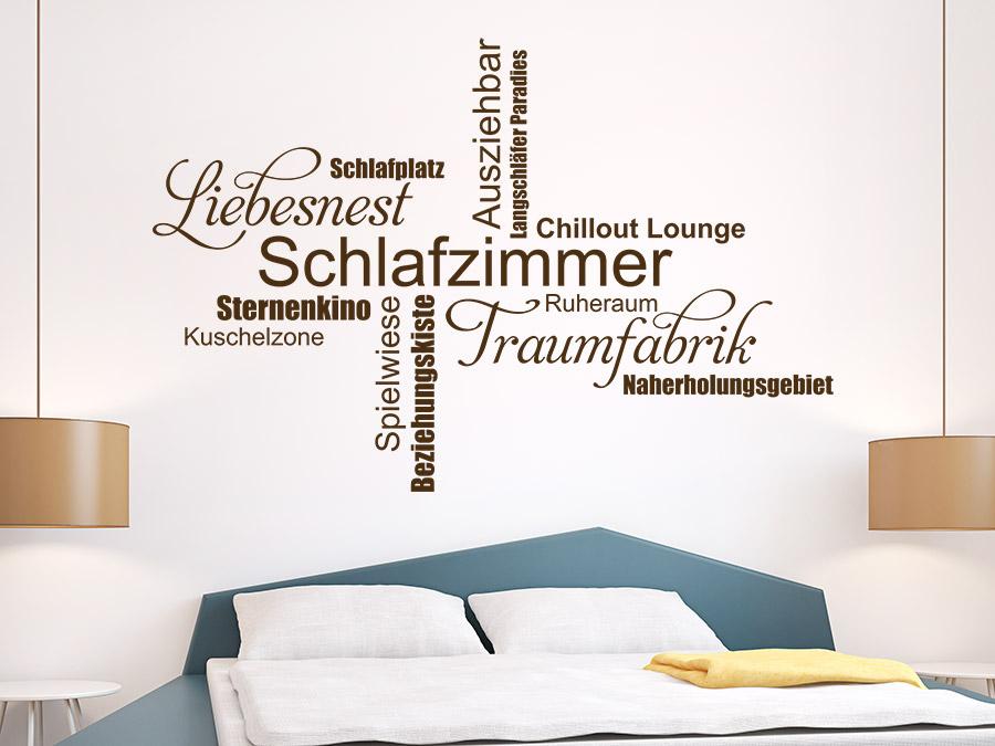 Wandtattoo Schlafzimmer Wortwolke Traumfabrik | WANDTATTOO.DE