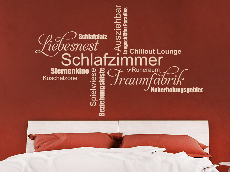 Wandtattoo Schlafzimmer Wortwolke von Wandtattoo.de