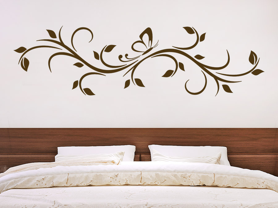 wandtattoo bl tterornament mit schmetterling wandtattoo de. Black Bedroom Furniture Sets. Home Design Ideas