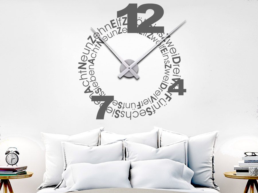 wandtattoo uhr typographie wanduhr bei. Black Bedroom Furniture Sets. Home Design Ideas