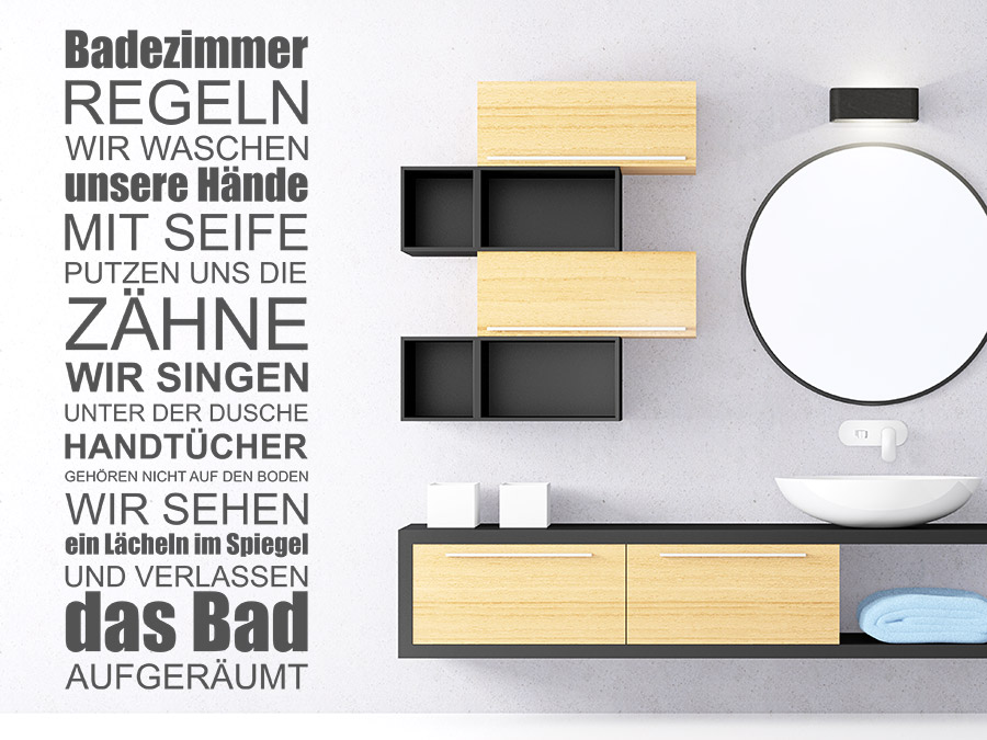 wandtattoo badezimmer regeln wellness spruchband. Black Bedroom Furniture Sets. Home Design Ideas