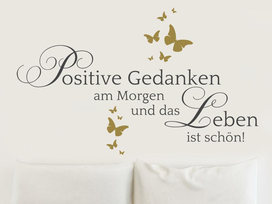 Wandtattoo Positive Gedanken am Morgen... | WANDTATTOO.DE