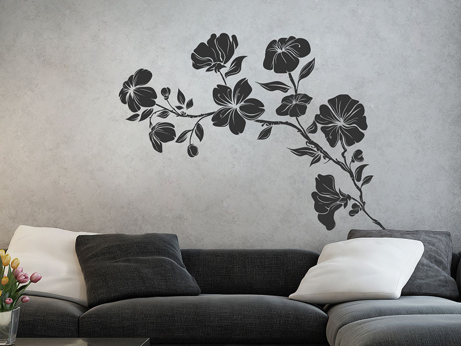 wandtattoo hibiskus strauch wandtattoo de. Black Bedroom Furniture Sets. Home Design Ideas