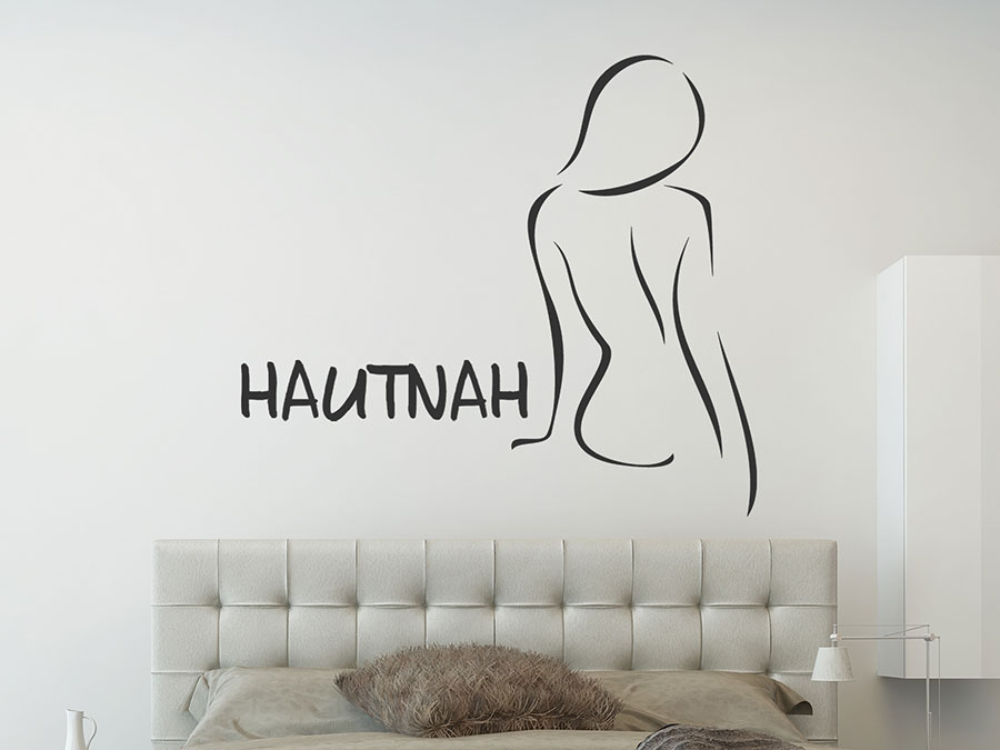 wandtattoo hautnah silhouette mit schriftzug wandtattoo de. Black Bedroom Furniture Sets. Home Design Ideas