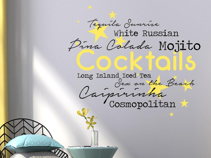 Wandtattoo Cocktails Mit Sternen Wortwolke Wandtattoos De
