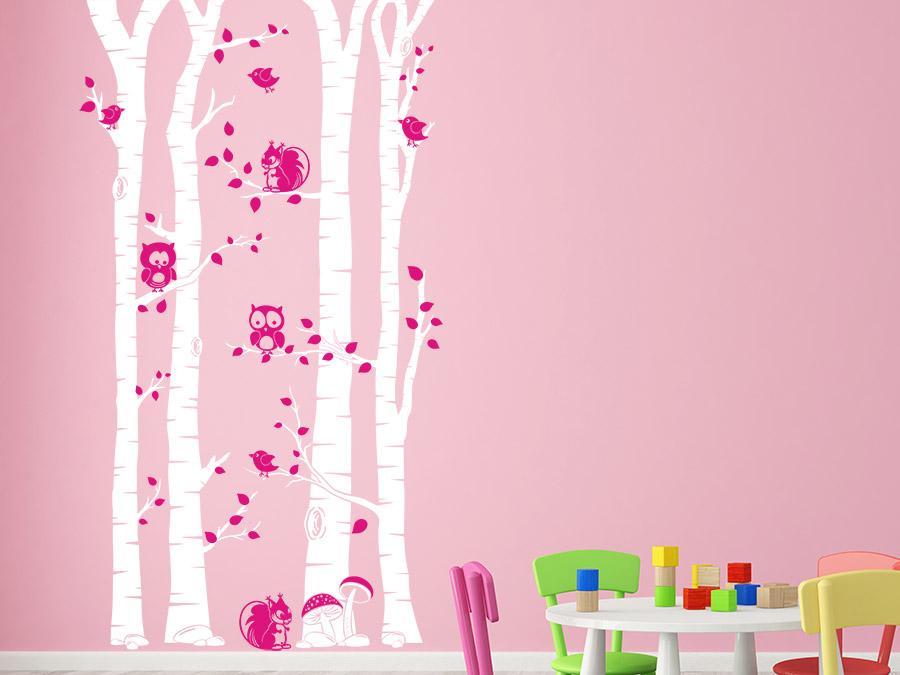 wandtattoo b ume mit eulen f r das kinderzimmer bei. Black Bedroom Furniture Sets. Home Design Ideas