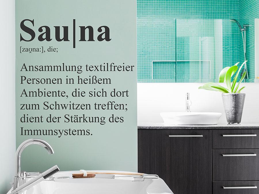 wandtattoo sauna wellness definition von. Black Bedroom Furniture Sets. Home Design Ideas