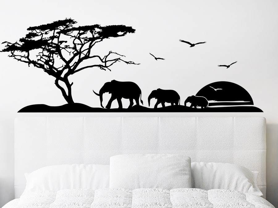 wandtattoo afrika reise mit elefanten wandtattoo de. Black Bedroom Furniture Sets. Home Design Ideas