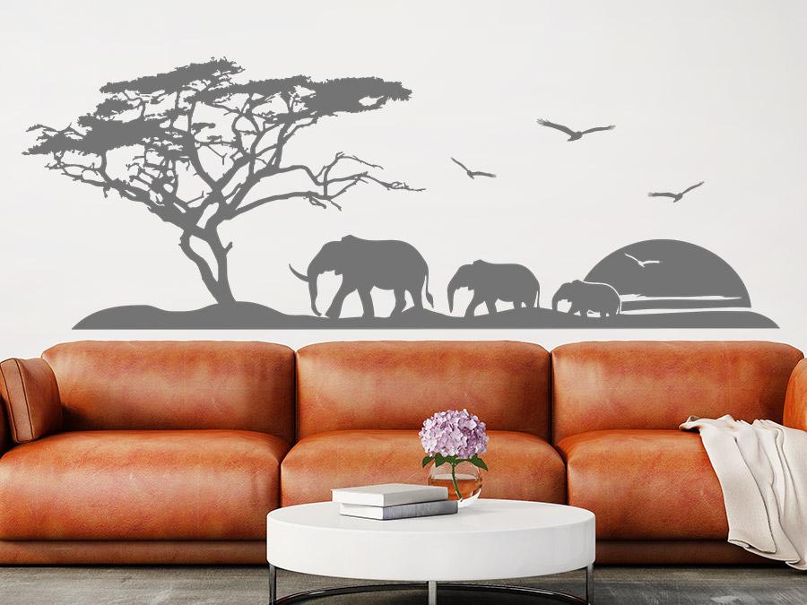 Wandtattoo afrika reise mit elefanten wandtattoo de for Wandtattoo afrika