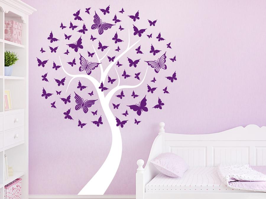 Wandtattoo Baum Mit Schmetterlingen Wandtattoo De