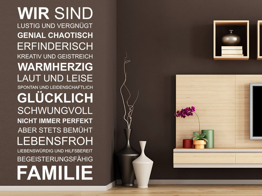 wandtattoo wir sind familie spruchband wandtattoo de. Black Bedroom Furniture Sets. Home Design Ideas