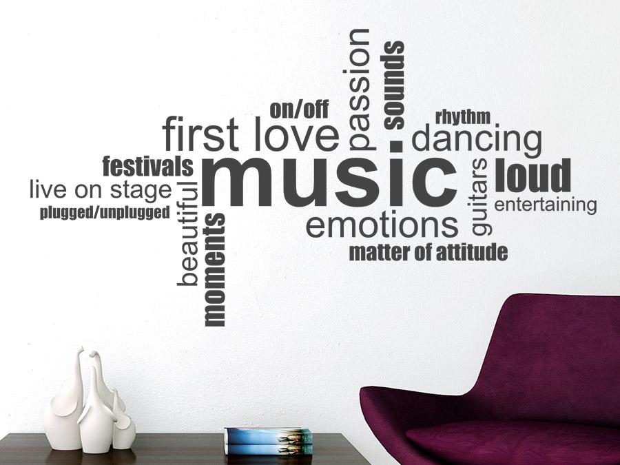Wandtattoo music wortwolke englische begriffe wandtattoo de for Jugendzimmer englisch