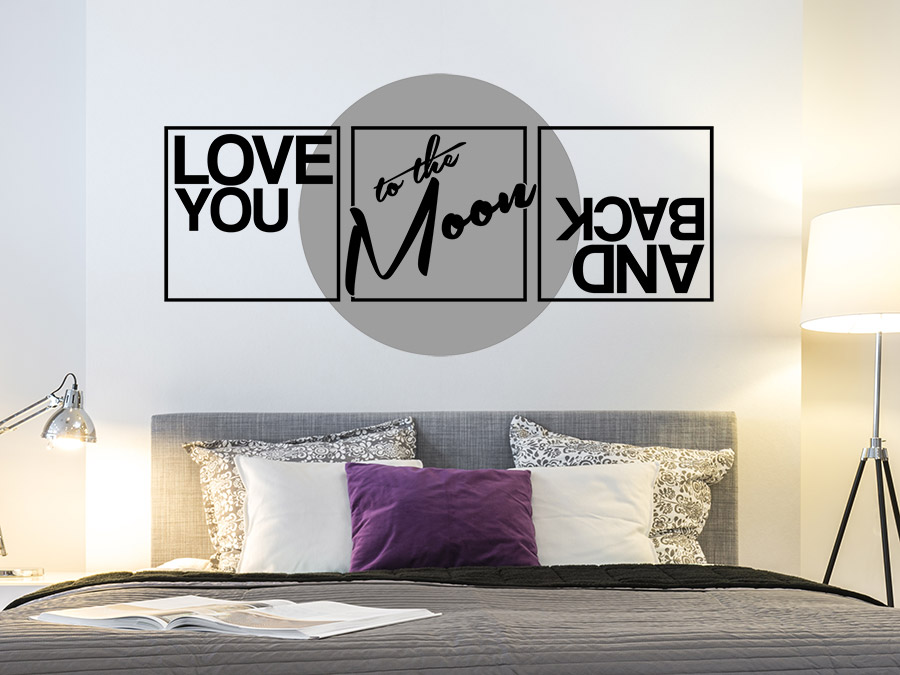 Wandtattoo Love you to the moon and back | WANDTATTOO.DE