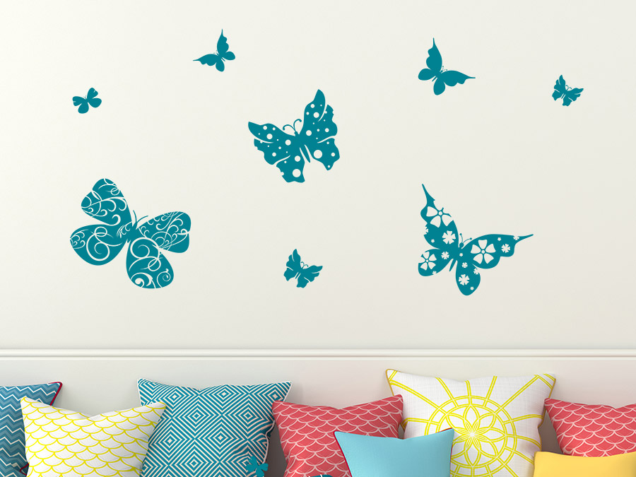 wandtattoo schmetterlinge mit ornamenten set wandtattoo de. Black Bedroom Furniture Sets. Home Design Ideas