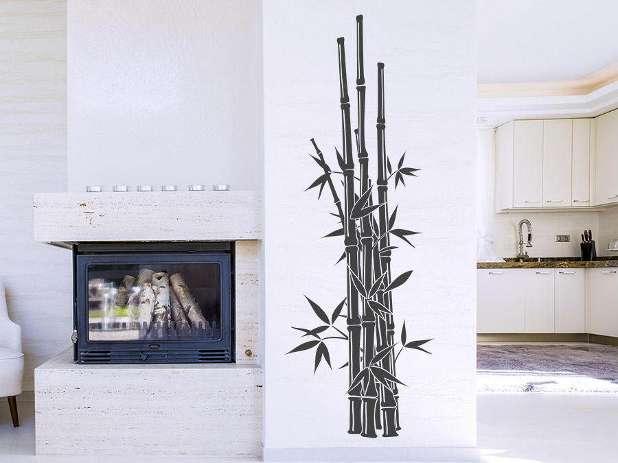 Wandtattoo Gerader Bambus asiatische Deko | WANDTATTOO.DE