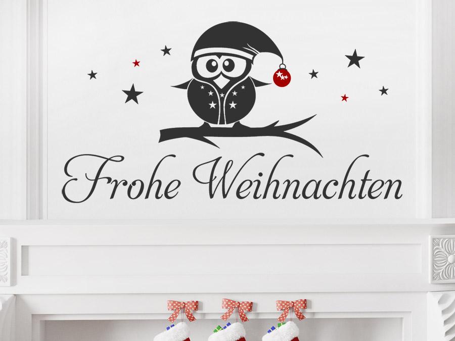 wandtattoo frohe weihnachten eule mit sternen wandtattoo de. Black Bedroom Furniture Sets. Home Design Ideas