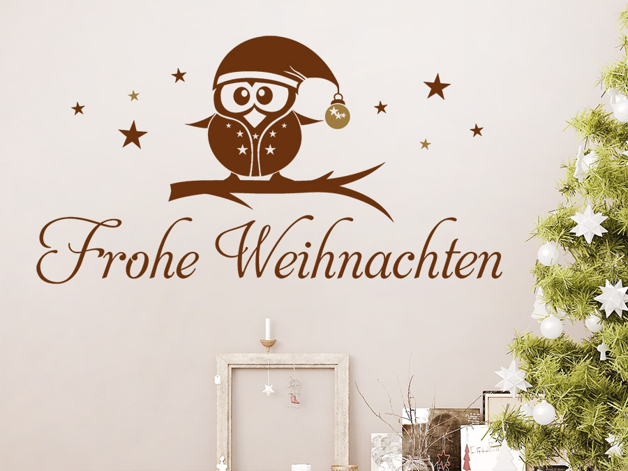 wandtattoo frohe weihnachten eule mit sternen wandtattoo de. Black Bedroom Furniture Sets. Home Design Ideas