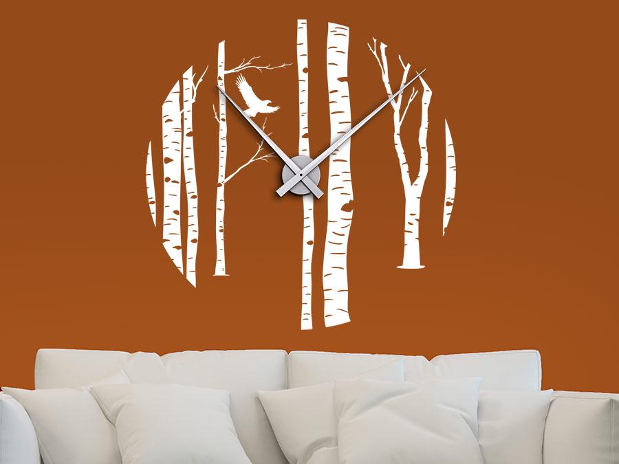 Wandtattoo Uhr Birkenwald Wandtattoo Uhr Birkenwald Im Wohnzimmer Wanduhr  Wandtattoo Uhr Birkenwald In Weiß