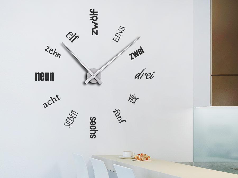 Wandtattoo Uhr Zahlen Schriften