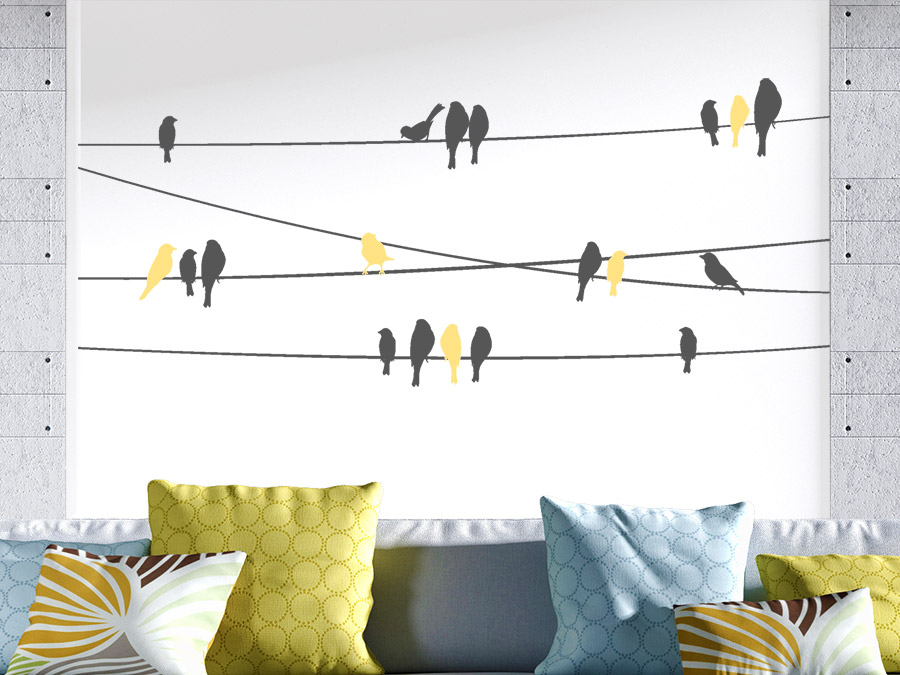 wandtattoo stromleitungen mit v geln wandtattoo de. Black Bedroom Furniture Sets. Home Design Ideas
