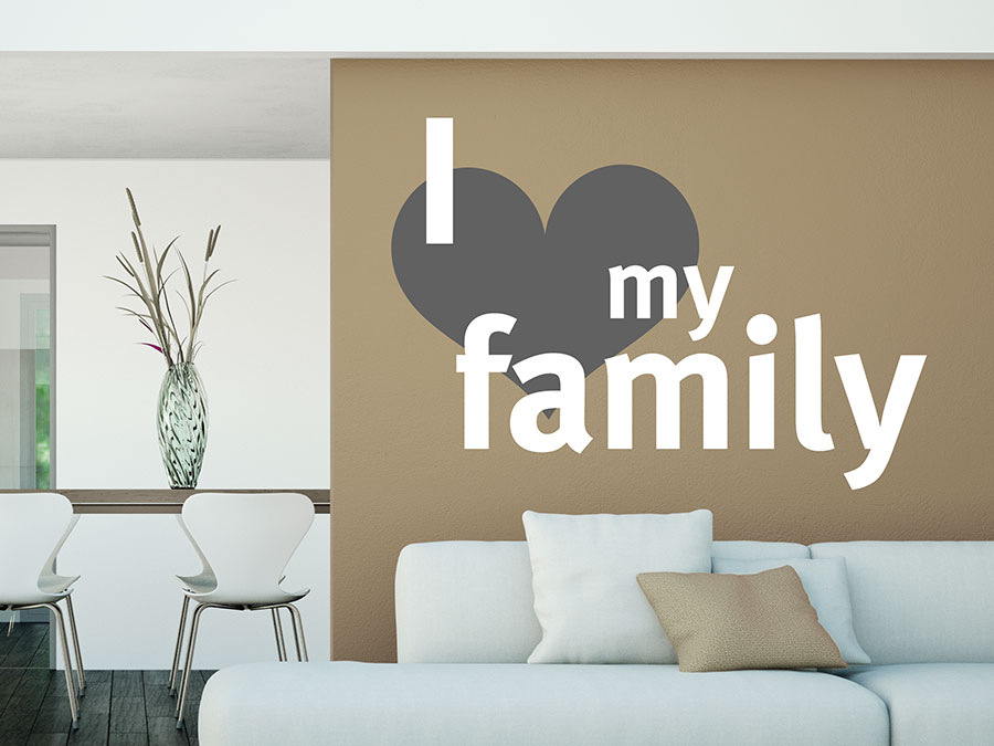 wandtattoo i love my family mit herz symbol wandtattoo de. Black Bedroom Furniture Sets. Home Design Ideas