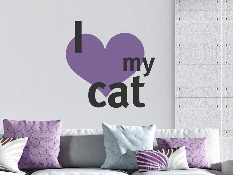wandtattoo i love my cat mit herz wandtattoo de. Black Bedroom Furniture Sets. Home Design Ideas
