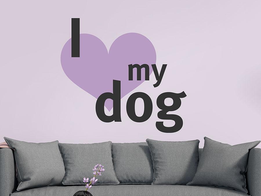 wandtattoo i love my dog von. Black Bedroom Furniture Sets. Home Design Ideas