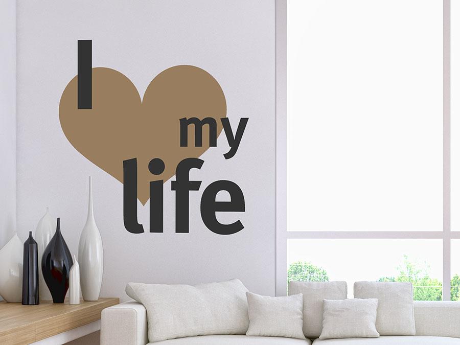 wandtattoo i love my life mit herz wandtattoo de. Black Bedroom Furniture Sets. Home Design Ideas