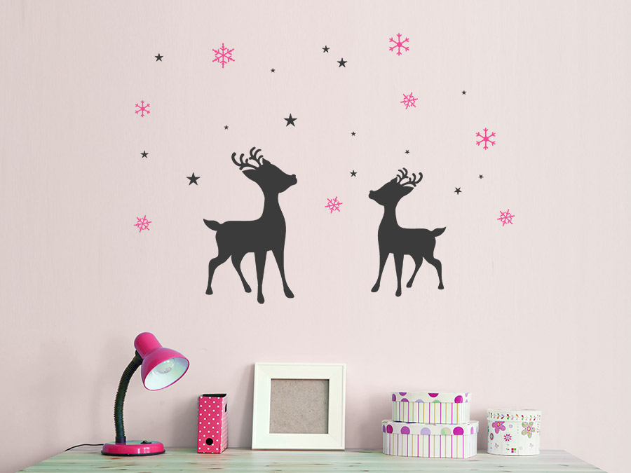 Wandtattoo Rentiere mit Sternen und Schneeflocken