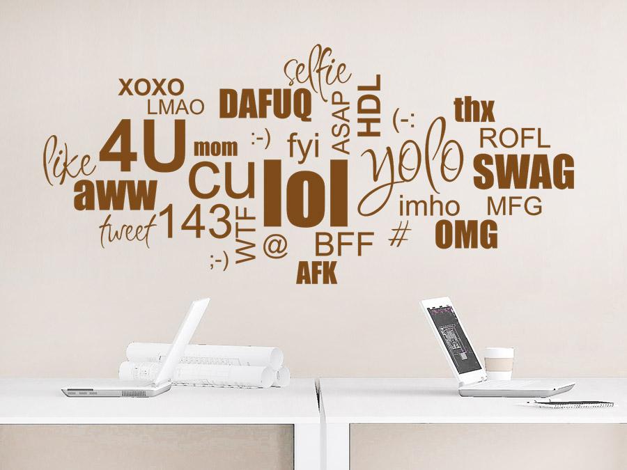 Wandtattoo Wortwolke Chat Slang
