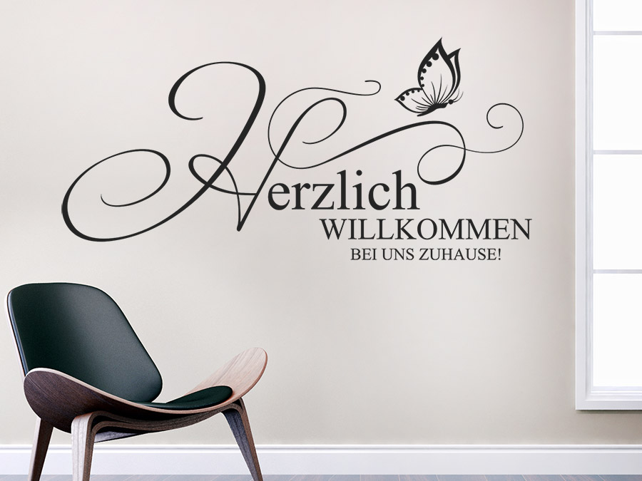 wandtattoo herzlich willkommen bei uns zuhause wandtattoo de. Black Bedroom Furniture Sets. Home Design Ideas